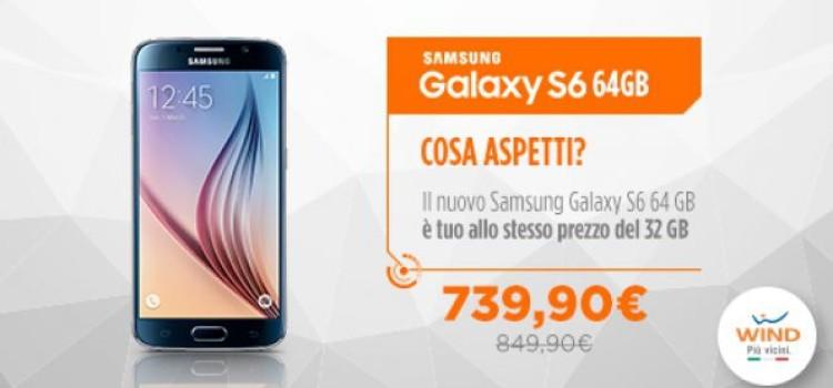 Galaxy S6 64GB con Wind a 739€. Stesso prezzo del 32GB