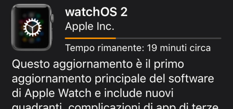 Disponibile Apple Watch OS 2