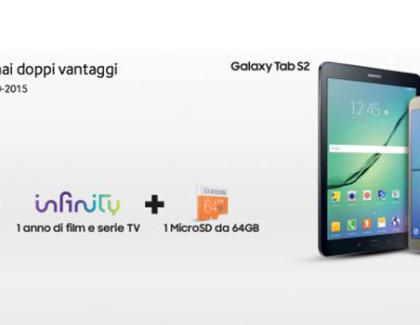 Samsung regala 12 mesi di Infinity e MicroSD da 64GB acquistando un Tab S2