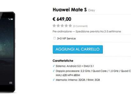 Huawei Mate S a 649€ prenotabile su Vmall.eu