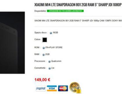 Xiaomi Mi4 LTE a 149€ con spedizione dall'Italia