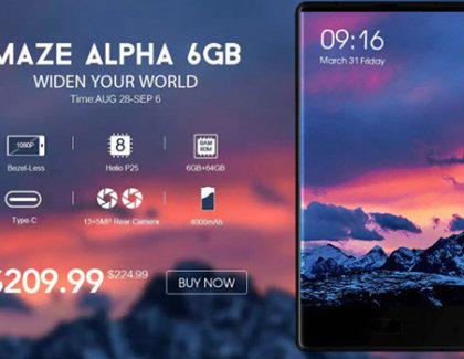 Maze Alpha in offerta a 209$, con 6GB di RAM, borderless ed Helio P25