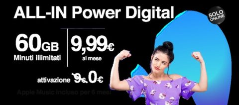 Tre Italia lancia ALL-IN Power Digital, minuti illimitati e 60GB a 9,99 euro