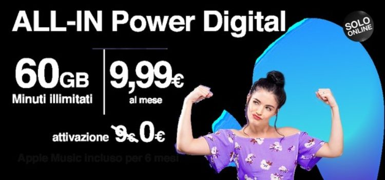 Tre Italia lancia ALL-IN Power Digital, minuti illimitati e 60GB a 9,99 euro
