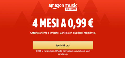 Amazon Music Unlimited a soli 0,99 euro per 4 mesi