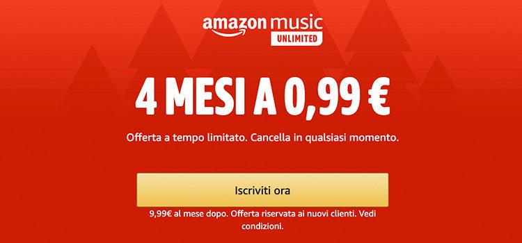 Amazon Music Unlimited a soli 0,99 euro per 4 mesi