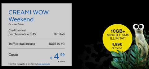 PosteMobile Creami WOW Weekend. min/sms illim. e 10GB a 4,99 euro