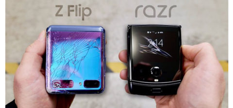 Galaxy Z Flip vs Motorola Razr nel test di caduta