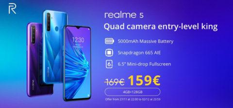 Realme 5 in offerta a 159 euro in Italia